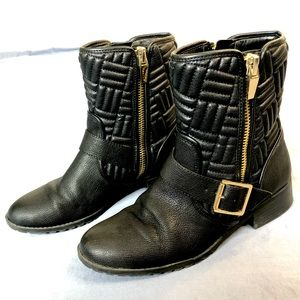 Calvin Klein Rauline Quilted Leather Moto Boots